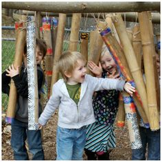 let the children play: What can you do with Bamboo? by polly Natural Play Spaces, Preschool Playground, Toddler Playground, Outdoor Learning Spaces, Outdoor Playground, Playground Ideas, Backyard Play, Kids Play Area, Play Areas