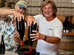Kurt Russell and Peter Work of Ampelos Cellars waxing the top of their Gogi Pinot Noir. Actor Kurt Russell teams up with Ampelos Cellars to produce his new wine label Gogi. The first release was the 2008 Gogi Pinot Noir. Chardonnay and Viognier are also produced: