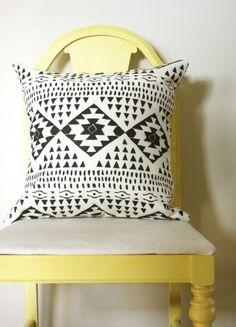 Gorgeous black and white modern southwest pillow.