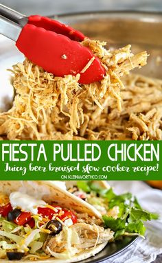 Beer Braised Fiesta Pulled Chicken is an easy slow cooker chicken recipe that is the starting point for awesome dinner ideas like tacos, casseroles, soups & more. It's simple to make & loaded with flavor.