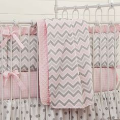 Pink and Gray Chevron Crib Blanket #carouseldesigns