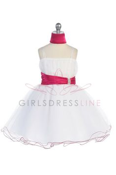 Hot Pink accented waistband Mini tulle flower girl dress G3018F $49.95 on www.GirlsDressLine.Com