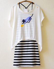 White Short Sleeve Striped Sequined Dress - Sheinside.com