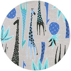 """Michael Miller, Migration, Giraffes Blue  Fabric is sold by the 1/2 Yard. For example, if you would like to purchase 1 Yard, you would enter 2 in the Qty. box at Checkout. Yardage is cut in one continuous piece.  Examples:  1/2 yard = 1 1 yard = 2 1 1/2 yards = 3 2 yards = 4  1/2 Yard Measures 18"""" x 44/45""""   Fiber Content: 100% Cotton   Hover over image for a larger, better view."""