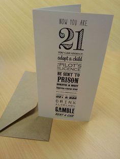 21st Birthday Card Now Youre 21 By AmandaWishartDesign On Etsy 350 Creative Ideas