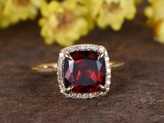 2.2 Carat Cushion Cut Garnet Diamond Ring 14k Rose Gold Birthstone Engagement Rings For January