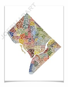 Washington DC  Typography Map Art Print  color by joebstudio, $25.00