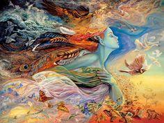 Ilustración de un espíritu femenino que representa al vuelo y al viento (Título: The Spirit of Flight, Autor: Josephine Wall)