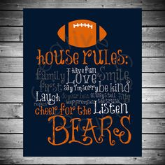 Chicago Bears House Rules  8x10 INSTANT by CreativeCardstock