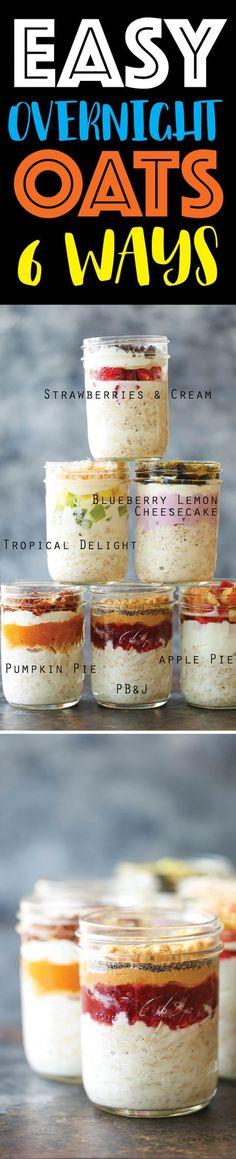 Easy Overnight Oats - Soak your oats overnight for the quickest breakfast all week long! You can double or triple the recipe. Seriously. It's just so easy! Recipe For Overnight Oats, Overnight Oats Yogurt, Strawberry Overnight Oats, Overnight Oats Simple, Strawberry Blueberry Smoothie, Overnight Chia Pudding, Greek Yogurt Oatmeal, Pumpkin Overnight Oats, Overnite Oats