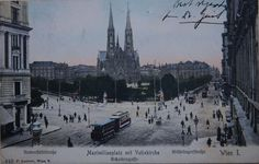Maximilianplatz around 1900. In the background you can see Votivkirche (Votiv church) and the 9th district (Alsergrund)