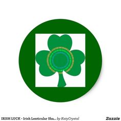 IRISH LUCK - Irish Lenticular Shamrock Round Sticker