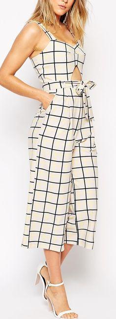 grid print jumpsuit