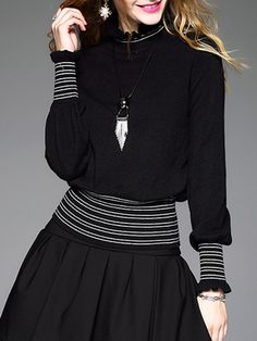 e87720bd942127  AdoreWe  StyleWe Jade Cloud Black Knitted Casual Stripes Ruffled Long  Sleeved Top - AdoreWe.com