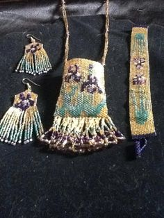 Violet set. Beaded by Dream Keepers.
