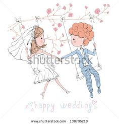wedding set bride and groom on swing - stock vector