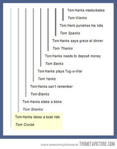 Tom Hanks...I don't know why, but this made me laugh so much