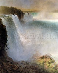 This painting by Frederick Edwin Church (1826-1900) was part of a series of paintings he produced featuring the Niagara Falls. In the spray of the waterfall, a