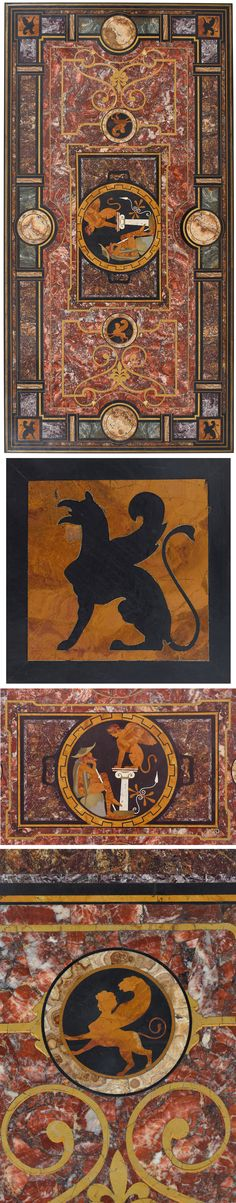 An Important Italian pietra dura and hardstone inlaid table top; among which sta. Rome, 19th Century, Griffins, Table, Profile, Detail, Elegant, User Profile, Classy