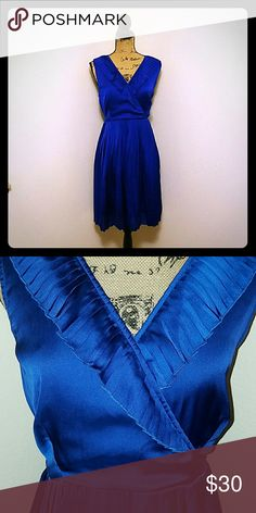 Blue Silky Ruffle Dress! Blue silky dress with v-neck and ruffles! Zipper on side of dress. Size large and in great condition. Apt. 9 Dresses