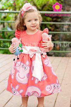 Vestido infantil para festa de aniversário da Peppa Pig - 1 a 6 anos