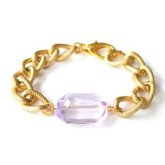 Larissa Arm Candy Translucent Purple Plastic Gem Bracelet - Chunky Textured Gold Curb Chain Bracelet - Jewel Arm Candy Chunky Chain Bracelet