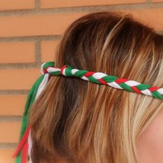 Mexican headband for the World Cup 2014 for Mexico soccer fan women. Braided boho headband hippie.
