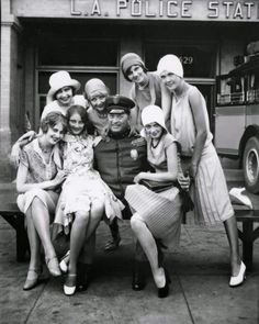 Policeman and flappers, 1928