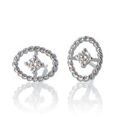 18 Karat White Gold Oval Shape Rope Design Diamond by SAMnSUE