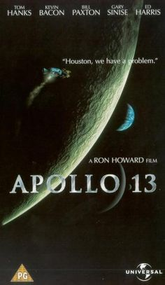 """Apollo 13 (1995): Directed by Ron Howard, starring Tom Hanks, Bill Paxton, Kevin Bacon, Gary Sinise, and Ed Harris [Won Oscars for """"Best Sound"""" and """"Best Film Editing""""]"""