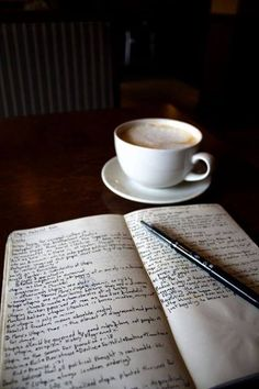 morning coffee and journal. I do this every morning. Reading, writing with coffee. I Love Coffee, Coffee Break, My Coffee, Coffee Shop, Coffee Cups, Tea Cups, Coffee Lovers, Morning Coffee, Coffee Plant
