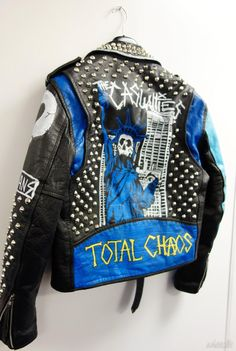 Punk Studded Leather Jacket Original hand painted one-off made in New Zealand