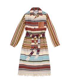 Stripe Button Coat Brown/Multicolor - LOEWE