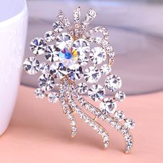 Blucome Large Austrian Crystal Flowers Brooches for Women Wedding Jewelry Fruit Top Quality Brocheds Scarf Clips Pin Up Broach