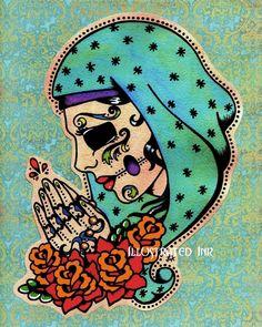 Day of the Dead VIRGIN MARY Dia de los Muertos by illustratedink, $15.50