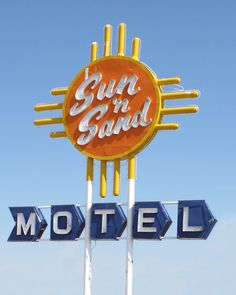 motel sign along old route 66 the mother road