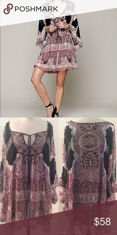 FREE PEOPLE Marla Dreams Mini Dress GREAT Condition, black combo. Free People Dresses