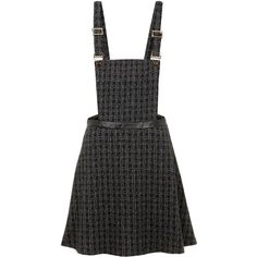 Yumi Back to School Pinafore ($46) ❤ liked on Polyvore featuring dresses, skirts, overalls, black, sale, black dress, black shift dress, kohl dresses, shining dress and checked dress