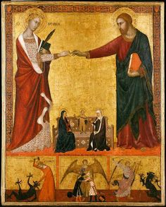 Mystic Marriage of St Catherine of Alexandria, below the infant Jesus, Mary & St Anne (ca1340) ~ Boston Museum of Fine Arts