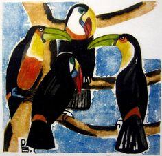 Dorrit Black Toucans The rare linocut printed in colours, 1938 Australian Painters, Australian Artists, Art Eras, Classical Realism, Collaborative Art, Linocut Prints, Art Market, Animal Paintings, Pet Birds