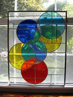 Stained Glass Window Panel  Rainbow Glass  by StainedGlassYourWay