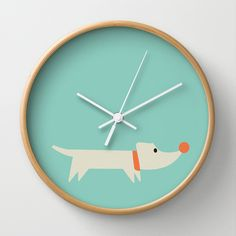 Kids Dog Wall Clock by friedasglueck