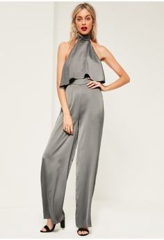 8ddee0053a4b7 Grey Double Layer Satin High Neck Jumpsuit - Missguided Rompers Women
