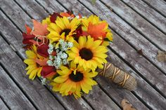 Sunflower Autum Bridal Bouquet Silk Wedding by MyDayBouquet, $89.00
