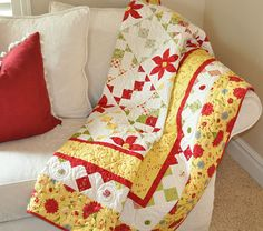 Sunny Yellow and Cherry Red Couch Quilt