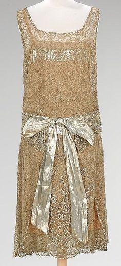 ca.1920's Silk, sequined, beaded, evening flapper dress.