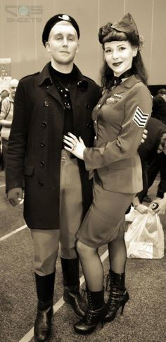 50's Pin Up, Rockabilly army girlfriend and her beau at Melbourne Oz Comic Con 2012 - Saturday, Day 1