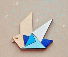 Wood Laser cut Brooch Blue Origami Bird by TheTwentyFingers, $14.00