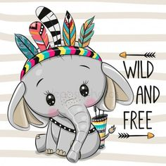 Illustration about Cute Cartoon Elephant with feathers on a stripes background. Illustration of boho, hand, freckles - 159378655 Cartoon Cartoon, Cute Cartoon Drawings, Cute Animal Drawings, Cute Elephant Cartoon, Cute Cartoon Animals, Cute Animals, Cartoon Elephant Drawing, Tribal Animals, Wild Animals