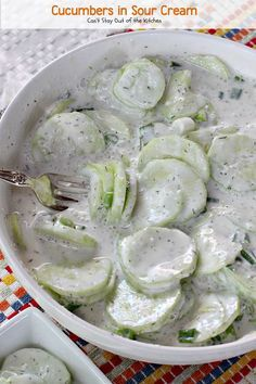 Cucumbers in Sour Cream is a quick, easy, simple & refreshing salad that's made with cucumbers & onions, seasoned with dill weed in a delicious creamy sauce